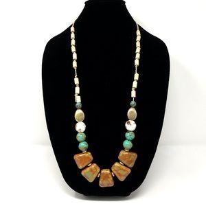 Anthropologie Long Necklace Stone Beading Multi